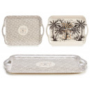 bamboo tray 42x27cm, 2 times assorted tropical