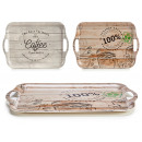 bamboo tray 42x27cm, 2 times assorted coffee