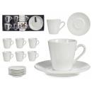 6er-Set Kaffeetassen aus Porzellan mit Teller