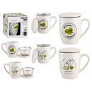 Porzellantasse Öko-Teefilter und Deckel sortiert