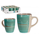 turquoise breakfast cup with border
