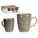 gray stoneware breakfast mug with border