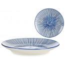 assiette Dessert à rayures bleues 20cm