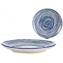 assiette uni bleu rayé 24cm