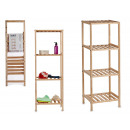 natural wood shelving with 4 floors