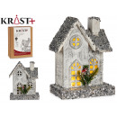 Großhandel Spielwaren: weißes schmales Holzhaus mit Licht und Pu