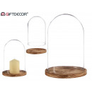 wood base glass dome diameter 17cm