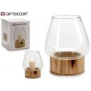 Glas Kerzenhalter Holzsockel Abom groß