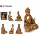 Buddha seduto in resina dorata, 2 volte assortito