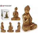 Buddha seduto mani resina oro grande