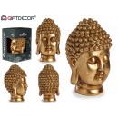 testa di buddha in resina dorata