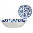 assiette dessin au trait bleu profondeur 20cm