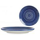 assiette cercle ethnique uni 24cm bleu