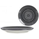 assiette cercle ethnique noir uni 24cm