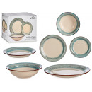 18-piece turquoise stoneware dinner set
