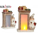 light ceramic fireplace with santa claus and round