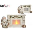 light ceramic fireplace with santa claus