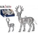 figure reindeer glitter 13cm silver