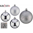 pvc ball 7cm shiny matt silver set of 5