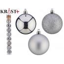 6cm pvc ball shiny silver set of 9