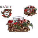 transparent candle holder with wooden ornaments