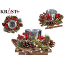 silver candle holder with wooden ornaments di