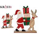 wooden figure c santa claus and reindeer
