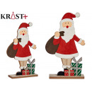 wooden santa claus with gifts 30cm