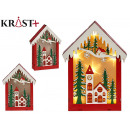 wooden house christmas motifs red c light