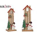 wooden house little snowman