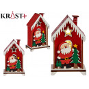 wooden house small santa claus w / tree and light