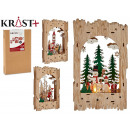3d c light christmas wood scene 3 times assorted