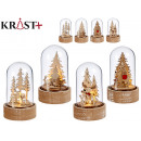 Christmas small glass dome with light, 4 times ass