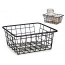 small matte black steel organizer basket