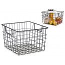 matte black steel basket with handle