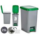 Cestino in plastica verde da 25 litri con colori
