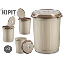 plastic trash can with beige lid