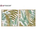 foglie tropicali pittura 40x40cm, 2 volte assortit