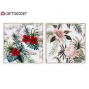 Großhandel Dekoration: tropische Blumenmalerei 40x40cm, 2 fach ...