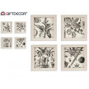 wholesale Fashion & Apparel: botanical painting 27,5x27,5cm, 4 times assorted