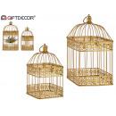 Set 2 goldene quadratische Metallkäfige