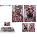 Set mit 2 Leinwänden afrikanisches Paar 50x70