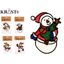 crystal snowman sticker, 4 times assorted