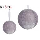 set of 4 balls velvet silver with crystal