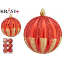 set of 6 red christmas balls lines 8cm