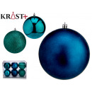 set of 6 turquoise colored christmas balls 12 cm