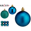 set of 6 turquoise colored christmas balls 6 cm