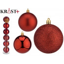 set of 6 christmas balls red colors 7 cm stock