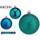 set of 6 christmas balls 7cm turquoise assorted