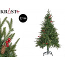 green christmas tree with pine cones red fruits